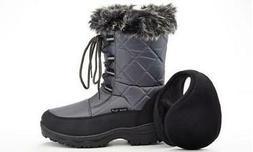 NEW Snow Tec Ava Women's Waterproof Snow Boots - Gray - Size