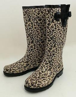 New Women's Wellies Flat Snow & Rain Boots Rainboots - Leopa