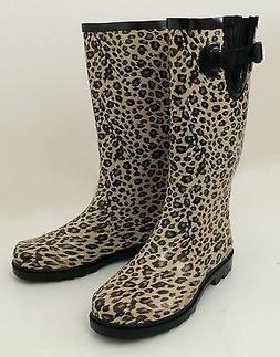 New Women's Wellies Flat Snow & Rain Boots Rainboots - Leopa