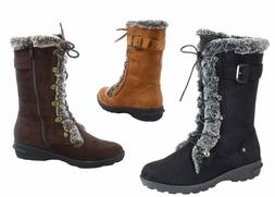 NEW Women's Winter Snow Round Toe Lace Up Zip Mid Calf Boots