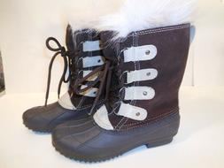 NEW WOMEN WINTER/SNOW BOOTS SIZE USA 7. BROWN/BEIGE WITH BLA