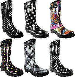 New Womens Rain Boots Rubber Printed Mid Height Wellie Mid C