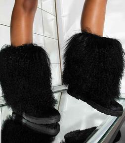 New Womens Round Toe Faux Fur Shaft Mid Calf Tall Flat Boots