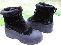 NEW NORTHSIDE Zipper Front Black Thermolite Suede Rain Snow