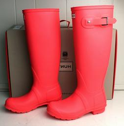 NIB Hunter Original Tall Boots Women's 6 Hyper Pink Rain Sno