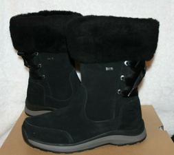 NIB UGG Women's Ingalls Black Waterproof Leather Fur Bow Sno