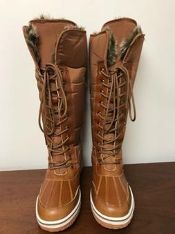 NIB Nature Breeze Women's Frost-02 Tan Nylon Snow Boots Faux
