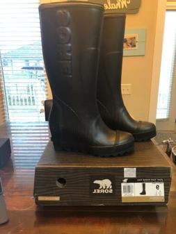 NIB Sorel Women's Joan Rain Wedge Tall Boots Black Size 9 Re