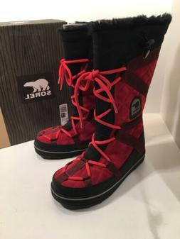 SOREL Glacy Explorer Women 8 Christmas Red Suede Tall Winter