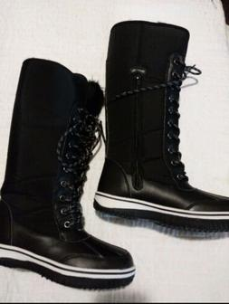 NWT  Nature Breeze Women's Black Nylon Snow Boots Faux Fur L