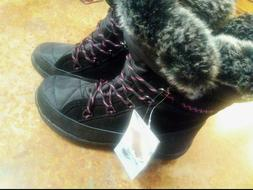 NWT!, WOMEN'S BEARPAW WATERPROOF SNOW BOOTS, BLACK / WITH FA