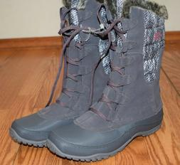 NWT Womens THE NORTH FACE Gray Pink Lace Up Faux Fur Snow Wa