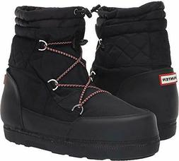 HUNTER ORIGINAL SHORT QUILTED SNOW BOOTS BLACK WOMEN SIZE US