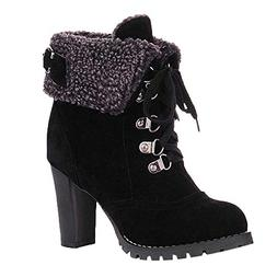 Cenglings Plus Size Women High Chunky Heel Lace-Up Ankle Sho