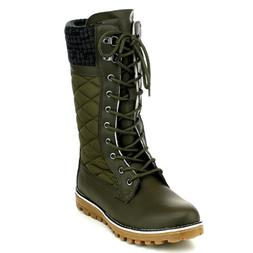 Women's Warm Snow Boots Fur Lined Mid-Calf Lace Up Quilted H