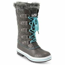 Polar Women's Nylon Tall Winter Snow Boot, Gray Textile/Blue