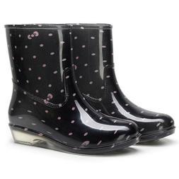 Punk Style Mid Warm Snow Boots Women's Non-Slip Rain Boots O