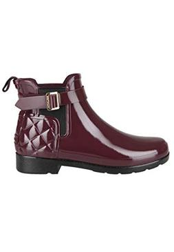 Hunter Refined Gloss Quilted Womens Chelsea Boots  US)