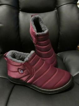 BJ Shoes Warm Wool Lining Flat Ankle Snow Boots For Women NE