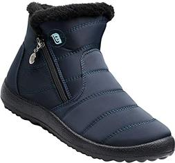 JOINFREE Womens Slip-on Waterproof Snow Winter Boots Anti-Sl