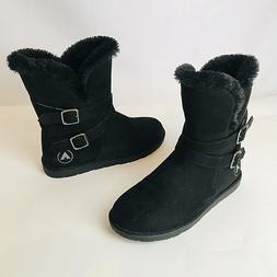Airwalk Snow Ankle Black Boots Fur Lining Women Size 8.5