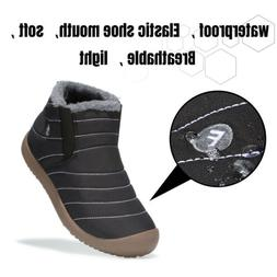 Snow Ankle Boots Warm Fur-lined Shoes for Men Women Waterpro