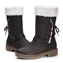gracosy Women's Snow Boots, Leather Ankle Bootie Warm Flat F