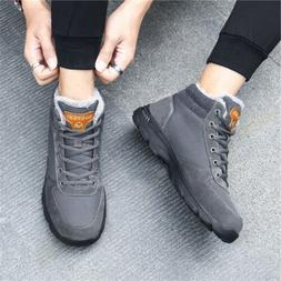 Snow Boots Warm Fur-lined Ankle Shoes for Men Women Lace Up