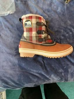 SOREL Tivoli Plaid Tan Waterproof Snow Boots size Women's 9