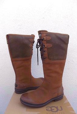 UGG ELSA CHESTNUT TALL WATERPROOF LEATHER DUCK/ SNOW BOOTS,