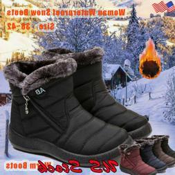 US Women Ankle Boots Winter Snow Fur Lined Warm Waterproof O