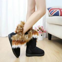 US Women's Winter Casual Warm Suede Faux Fox Fur Short Snow