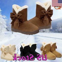 US Women's Winter Warm Suede Ankle Snow Boots Fur Thicken Sk