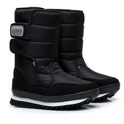 US Women Thicken Mid Calf Snow Ski Boots Shoes Fur Lining Wa