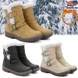 US Womens Snow Ankle Boots Winter Leather Fur Lining Warm Ou
