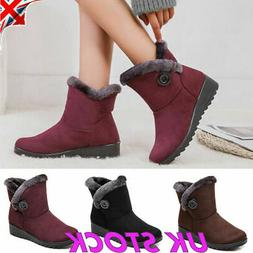 USA Winter Women Shoes Snow Boots Fur-lined Slip On Warm Ank