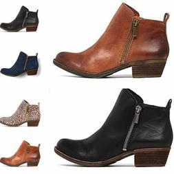 Vintage Women's Low Heel Western Zipper Ankle Boots Booties