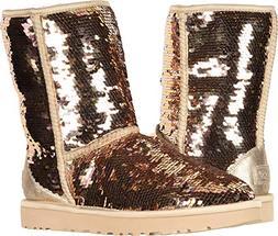 UGG Women's W Classic Short Sequin Fashion Boot, Gold Combo,