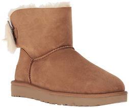 UGG Women's W Fluff Bow Mini Fashion Boot, Chestnut, 9 M US