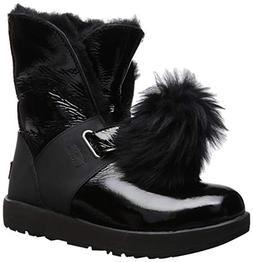 UGG Women's W Isley Patent Waterproof Fashion Boot, Black, 9