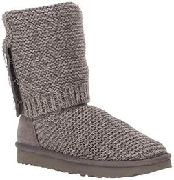 UGG Women's W Purl Cardy Knit Fashion Boot, Charcoal, 8 M US