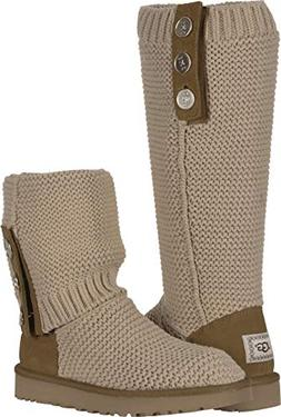 UGG Women's W Purl Cardy Knit Fashion Boot, Cream, 9 M US