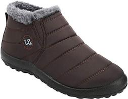 FEETCITY Warm Snow Boots, Winter Warm Ankle Boots,Fur Lining