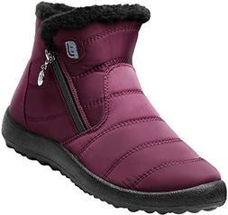 JOINFREE Womens Warm and Waterproof Snow Boots with Rubber S