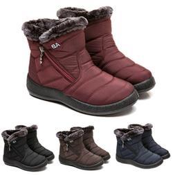 Waterproof Winter Women Shoes Snow Boots Fur-lined Slip On W