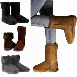 Winter Boots Women's Faux Fur Suede Mid Calf Warm Snow Fashi
