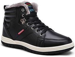 JIASUQI Mens Winter Fur Snow Boots Wide Ankle Shoes Warm Bla