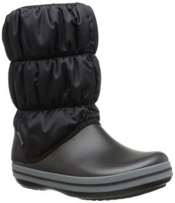 crocs Women's Winter Puff Boot Wom Snow Boot, Black/Charcoal
