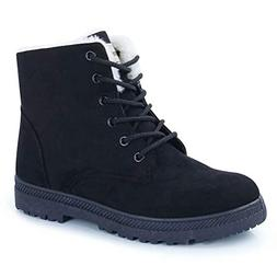 CIOR Fantiny Women's Snow Boots Winter Warm Suede Lace up Sn