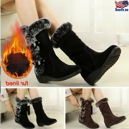 Winter Women Ladies Snow Boots Fashion Fur Warm Buckle Casua